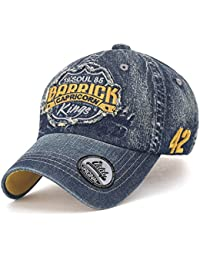 ililily Distressed Patch Washed Cotton Denim Trucker Hat Casual Baseball Cap