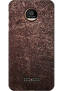 AMEZ designer printed 3d premium high quality back case cover for Moto Z Force (Brown Leather Skin Texture iPhone 5 Wallpaper)