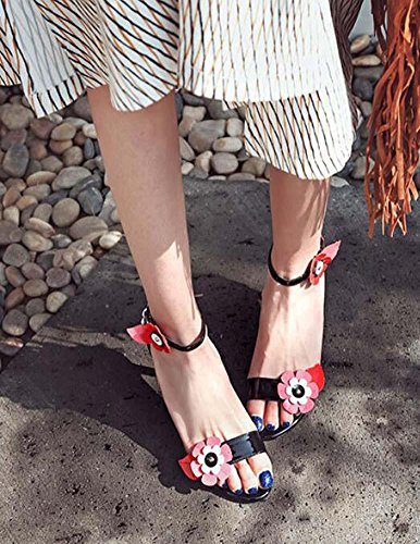 Onfly Frau Mode Blumen Offener Zeh High Heels Fesselriemen Sandalen Stilett Pumpe Tanzen Schuhe Black
