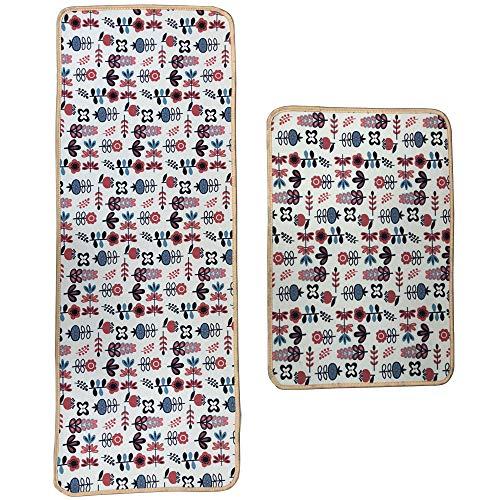 Leebei tappeti da cucina lavabili antiscivolo,zerbini cucina camera da letto bagno moquette tessuto anti-fatica mat assorbente in poliestere (art-fiore,15.7×23.6 pollici+15.7×47.2 pollici)