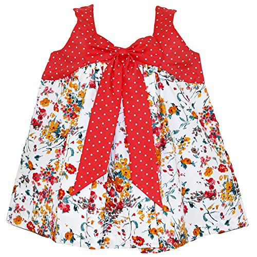 Mom's Girl Orange Dotted Frock With Floral Print (6-12 Months)