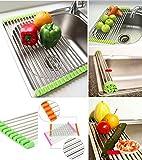AADYA Stainless Steel Kitchen Sink Crockery Vegetable Wash Utensils Drain Rack 19 inch - Random Color
