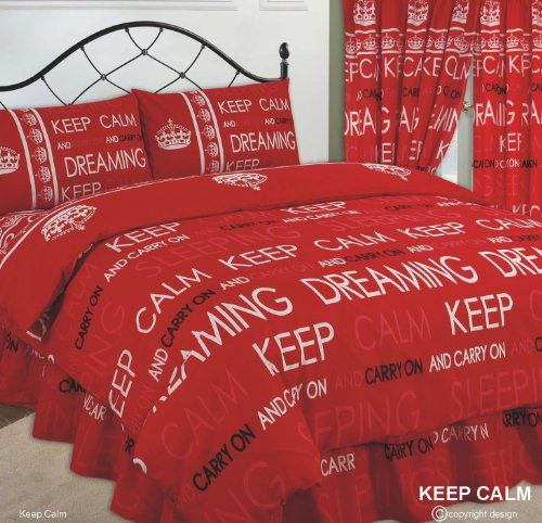 Single Bed Duvet / Quilt Cover Bedding Set, Keep Calm & Carry On Dreaming / Sleeping, Red / White / Black