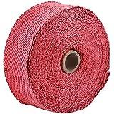 VGEBY 2 Cinta del Tubo de Escape para la Moto Banda de Fibra de Vidrio para El Aislamiento de Tuberías 10m / 394 ( Color : Rojo )