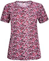 Womens Plus Size Floral Print Ladies Short Sleeve Round Neckline Long Tunic T-Shirt Top