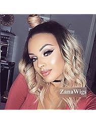 Zanawigs Blond sans colle Perruque lace front ondul¨¦e Ombre Cheveux Bob synth¨¦tique Perruques pour femme