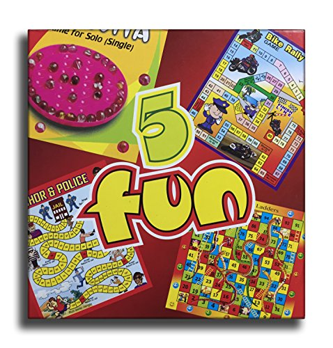 5 Fun - Enjoy Brainvita, Snakes & Ladder, Chor Police, Bike Rally & Monkey Race In One Pack (Pack Of 12)
