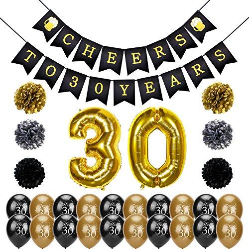 30. geburtstag party set, Konsait Cheers zum 30. Geburtstag Girlande, Große 30 Jahre Folienballons, Papierblumen, Pom Poms, 20Stk schwarz und Gold Latex Luftballons Dekoration für Erwachsene