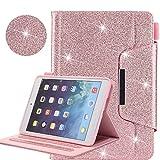 iPad 9.7 2018 2017 / iPad Air 2 / iPad Air / iPad Pro 9.7 Hülle, Business Glitzer Premium Leder Ständer Clever Cover [Auto Schlaf/Wach] für Apple iPad 9.7 2018 2017/Air 2/Air/Pro 9.7 2016,Rosa