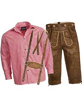 Trachtenlederhose Kniebundhose mit Trägern aus Rindveloursleder rehbraun + Trachtenhemd rot kariert