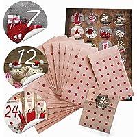'24sacchettini piccoli sacchetti di carta natalizie con pois rossi (9,5x 14cm) e 24adesivi rotondi 4cm