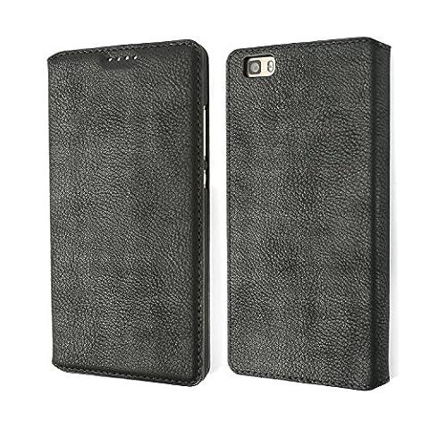 P8 Lite Schutzhülle, Huawei P8 Lite Holster, Coodio Premium Ledertasche im Bookstyle, Vintage Lederhülle Leder Tasche mit Kartenfach für Huawei P8 Lite