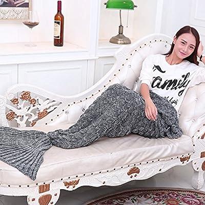 Cola de sirena manta mantas de lana de punto suave y cálido para sofá cama sala de estar