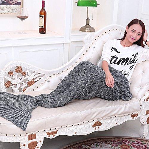 A Mano a Maglia Mermaid Tail Coperta, Sofa Quilt Sacco a Pelo Soggiorno Calda Coperta per Adulti e Ragazzi Bambini, 74 pollici x 35 pollici (190cm x 90cm) - Grigio