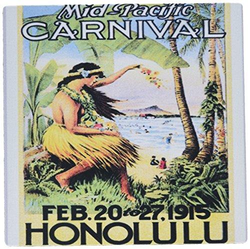 3drose 20,3x 20,3x 0,6cm Bild von Vintage Honolulu Poster mit Palm und Hawaiian Lady Maus Pad (MP 163393_ 1) (Maus-pad-hawaiian)
