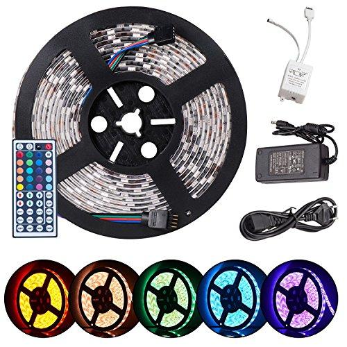 SENDIS Neue Version 2.0 Wasserfeste Ferngesteuerte RGB LED Kette mit Eingebauten 300 Lämpchen zuzüglich allen Zubehören (5 Meter)