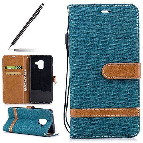 Uposao Kompatibel mit Galaxy A8 2018 Schutzhülle Klapphülle Luxus Canvas Jeans Ledertasche Brieftasche Handytasche Lederhülle Flip Case Tasche Cover Mit Magnetverschluss,Grün