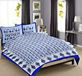 "Jaipur Textile - "" Exclusive bedsheets Set for double bed cotton Full king size luxury Designer Jaipur 100% Cotton Sanganeri Printed Mattresses Bedcover Traditional Duvet with 2 Pillow Cases (Blue)"