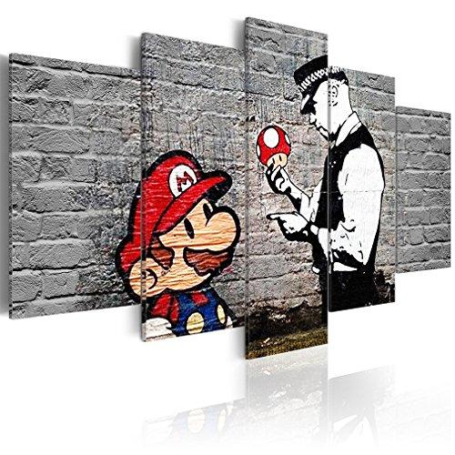 decomonkey Bilder Mario Banksy 200x100 cm 5 Teilig Leinwandbilder Bild auf Leinwand Vlies Wandbild Kunstdruck Wanddeko Wand Wohnzimmer Wanddekoration Deko Street Art Ziegel