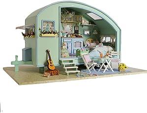 Oshide Puppenhaus Süß Haus DIY House mit Licht als Kinder Geschenk (Süß Wohnwagen)