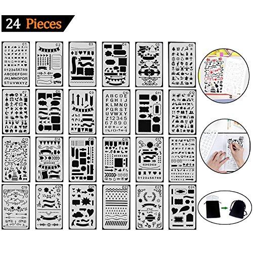 Schablonenmalerei (Tian Zeichenschablonen Set mit Exquisit Segeltuch Tasche - 24 Stück Schablonenmalerei Stencil Set Kunststoff Schablonen für Bullet Journal Scrapbooking DIY Design und Craft Projekte)