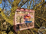 Insect Hotel with Feeder and Wood Bark Heavy...