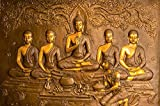 #5: Kayra Decor Gautam Buddha with Disciples 3D Wallpaper Print Decal Deco Indoor Wall Mural (Height 3ft x Width 4ft)
