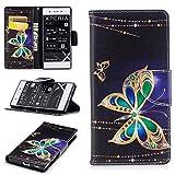 JARNING Sony Xperia XA1 G3112 G3116 G3121/Sony Xperia Z6 Hülle Leder Luxus Schutzhülle Schlanke Prämie Wallet Tasche Brieftasche Flip Case mit Magnetverschluss Kartenfach(Großer Schmetterling)
