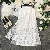 HEHEAB Falda,Acanalar Blanca Falda Encaje Moda Mujer Verano Midi Elegante Falda Larga Cintura Alta Falda Femenina Oficina Señoras