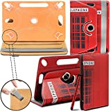 New Design TAN Universal Leather 360 degree Stand Case Cover For Kindle Fire HD 7-inch Tablet PC - Telephone Booth ( 7' Tab - Designer - Folio - wallet ) by Gadget Giant®