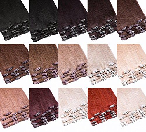 Clip-In Extensions Echthaar Haarteil Set 7tlg - 70cm Farbe #1 Schwarz 7 Teiliges Haarteil Für Komplette Haarverlängerung - Top Schwarze 100% Remy Echthaar Clip in Extension