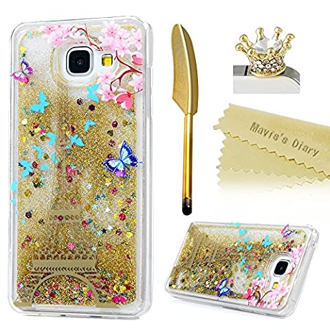 Mavis's Diary Cover for Samsung A5 ,Samsung Galaxy A5 Case (2016 Model) - Glitter Flowing Liquid Stars Love Hearts Floating Bling Flexible Rubber Cover Shiny Powder Shockproof Drop Protection Prints Protective Case with Dust Plug & Stylus - Tower (Not for 2015 Model)
