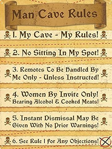 Man Cave Rules Blechschild 30,5x 40.5cm