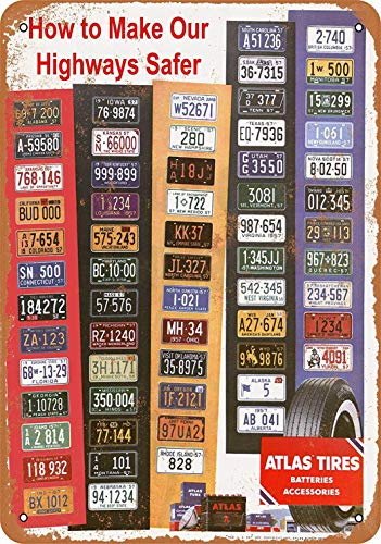 1957 Poster (mefoll Wall Art Decor Signs 1957 Atlas Tires All States License Plate Display Funny Metal Signs 12x16 Tin Sign Retro Home Decor Bar Decor by)