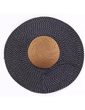 SituMi Señoras Verano sombrero para el sol Sombrero de Paja plegable disquete ala ancha playa grande, negro