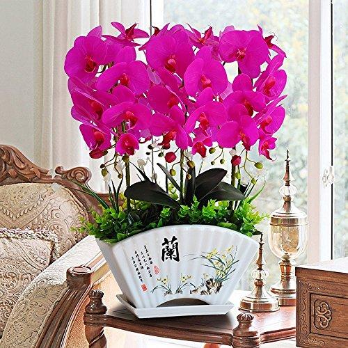 Jnseaol Kunstblumen Künstliche Blumen Orchidee Hotel Wohnzimmer Hochzeit Party Küche Eine Große Dekoration Keramik Topf DIY Lila-05