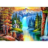 DIY 5D Diamond Painting by Number Kits, Full Drill Crystal Rhinestone Embroidery Pictures Arts Craft for Home Wall Decor Gift, Mountain Waterfall
