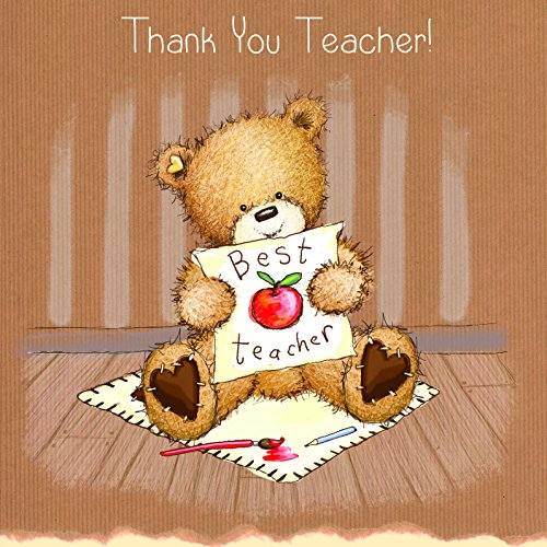 twizler Popcorn der Bär Thank You Teacher Karte mit Best Teacher und Apple-Thank You-BEST Teacher Karte-Cute-Lehrer-Geschenke-Schule Karte-Thank You Geschenke Cute Apple