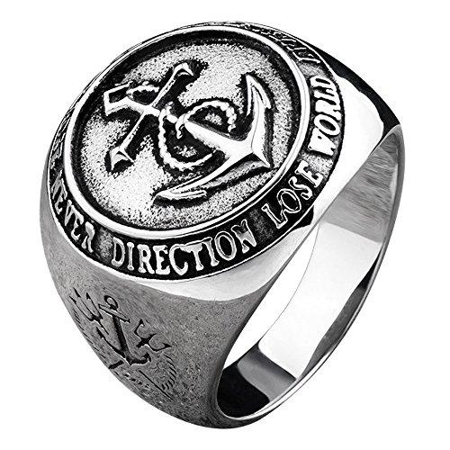 FORFOX Herren Titan Marine Anker Ring Eingraviert Poseidons Trident & Kompass 54 - Herren-marine-ring