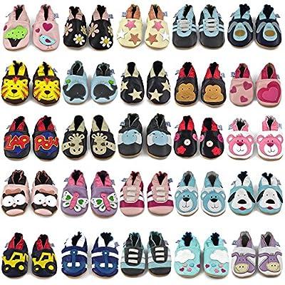 Juicy Bumbles - Weicher Leder Lauflernschuhe Krabbelschuhe Babyhausschuhe mit Wildledersohlen. Junge Mädchen Kleinkind 0-6 Monate 6-12 Monate 12-18 Monate 18-24 Monate