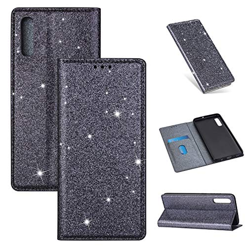 Nadoli Glitzer Wallet Hülle für Galaxy A50,Bling Schutzhülle Leder Flip Case Lederhülle mit Kartenfach Standfunktion Klappbar Magnetisch Etui für Samsung Galaxy A50