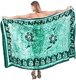 LA LEELA Gentle Rayon Shoe Floral Batik Bikini Sarong Cover up 78X42Inch Green