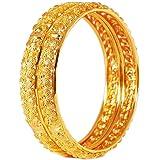 AFJ Gold 1 Gram Gold Plated Traditional Designer Trendy Plain Bangles Sets for Women & Girls (2.6)