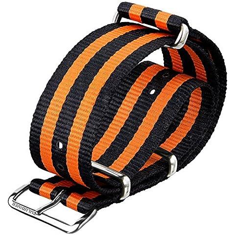 Correa de reloj Bond naranja NATO G10 de ZULUDIVER®, negra y naranja, cierres pulidos, 20mm