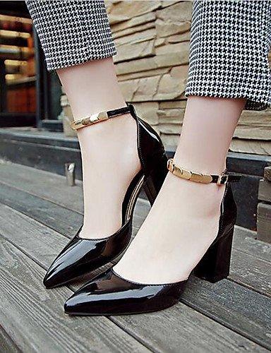 WSS 2016 Chaussures Femme-Bureau & Travail / Soirée & Evénement-Noir / Rose / Blanc-Gros Talon-Bout Pointu-Talons-Cuir Verni black-us6.5-7 / eu37 / uk4.5-5 / cn37