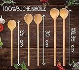 RSW24® 5-tlg Kochlöffel-Set aus kräftigem Hartholz, 25-35cm Länge, aus Buchenholz, Hartholz, Verschiedene Größen, Küchenutensilien hergestellt in Europa, mit Back-löffel und Koch-Löffel - 3