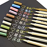 Wer Set von 10Farben Metallic Marker Stifte für Kunst DIY Handwerk macht Card Photo Album Scrapbook Zeichnen Secret Garden Färben Bücher oder schreiben auf jeder Oberfläche Papier Glas Kunststoff Keramik Stein
