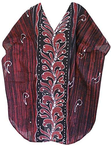 La Leela 100% batik de coton tenue décontractée chemise de nuit courte caftan caftan d'orange Rouge