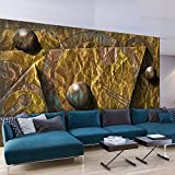 murando - Fototapete 3D Gold 500x280 cm - Vlies Tapete -Moderne Wanddeko - Design Tapete - Abstrakt Gold geometrisch blau grau a-A-0250-a-b