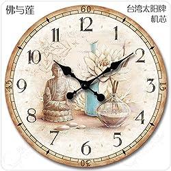 DIDADI Wall Clock Continental americano retro idílico salón simple decoración clásica creative enmudecer enmudecer Relojes de pared, 16 pulgadas, Buda con Lin tamaño grande sin segundos